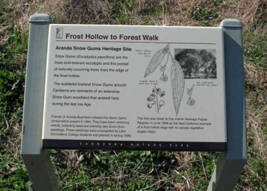 Interpretive sign on the Frost Hollow to Forest Walk